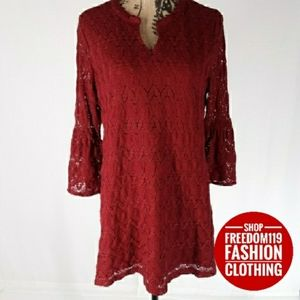 Style & Co | Tunic Bell Sleeve Lace Dress (M)